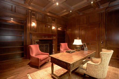 The Richly Paneled Office Also Has A Fireplace Coffered Ceilings And