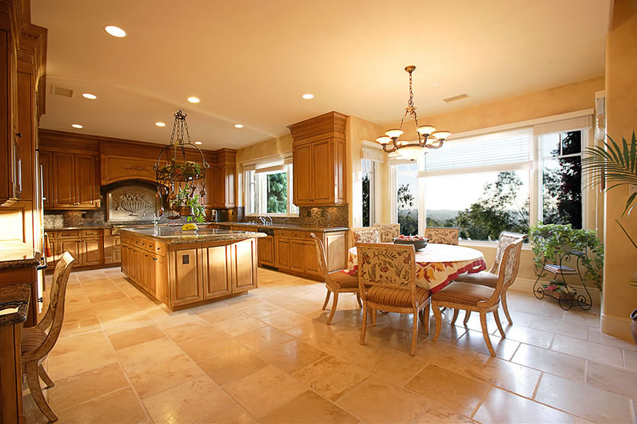 The Kitchen And Dining Area Is Spacious And Uses Rich Traditional
